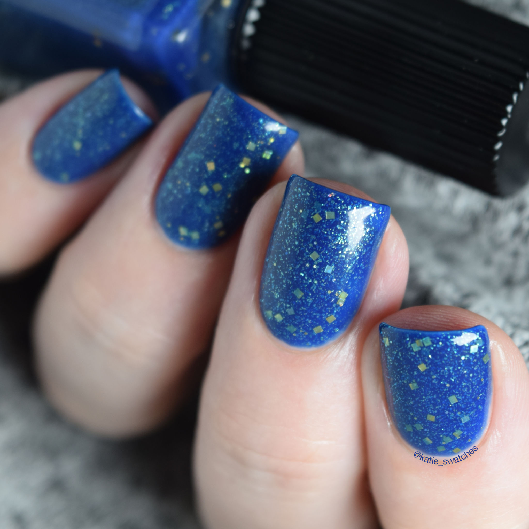 Cadillacquer Night Clouds indie nail polish swatch - blue green glitter
