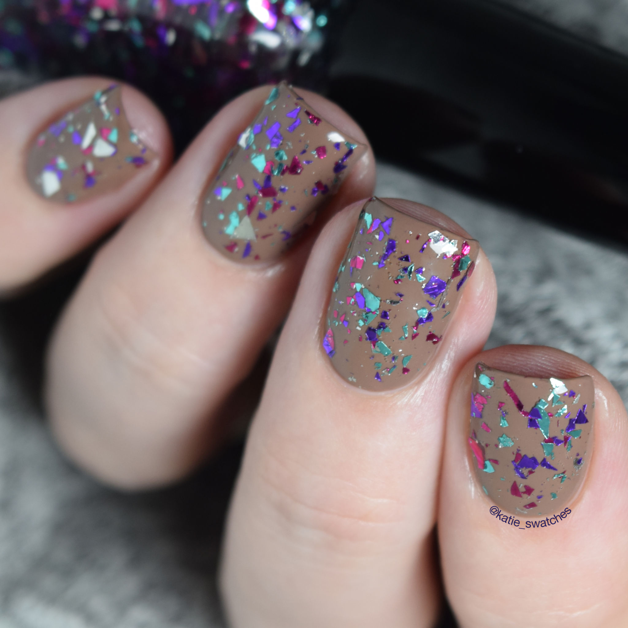 Lac Attack Muggles layered over Chanel Particuliere nail polish swatch - Harlow & Co. Exclusive - multi-coloured shard glitter nail polish topper
