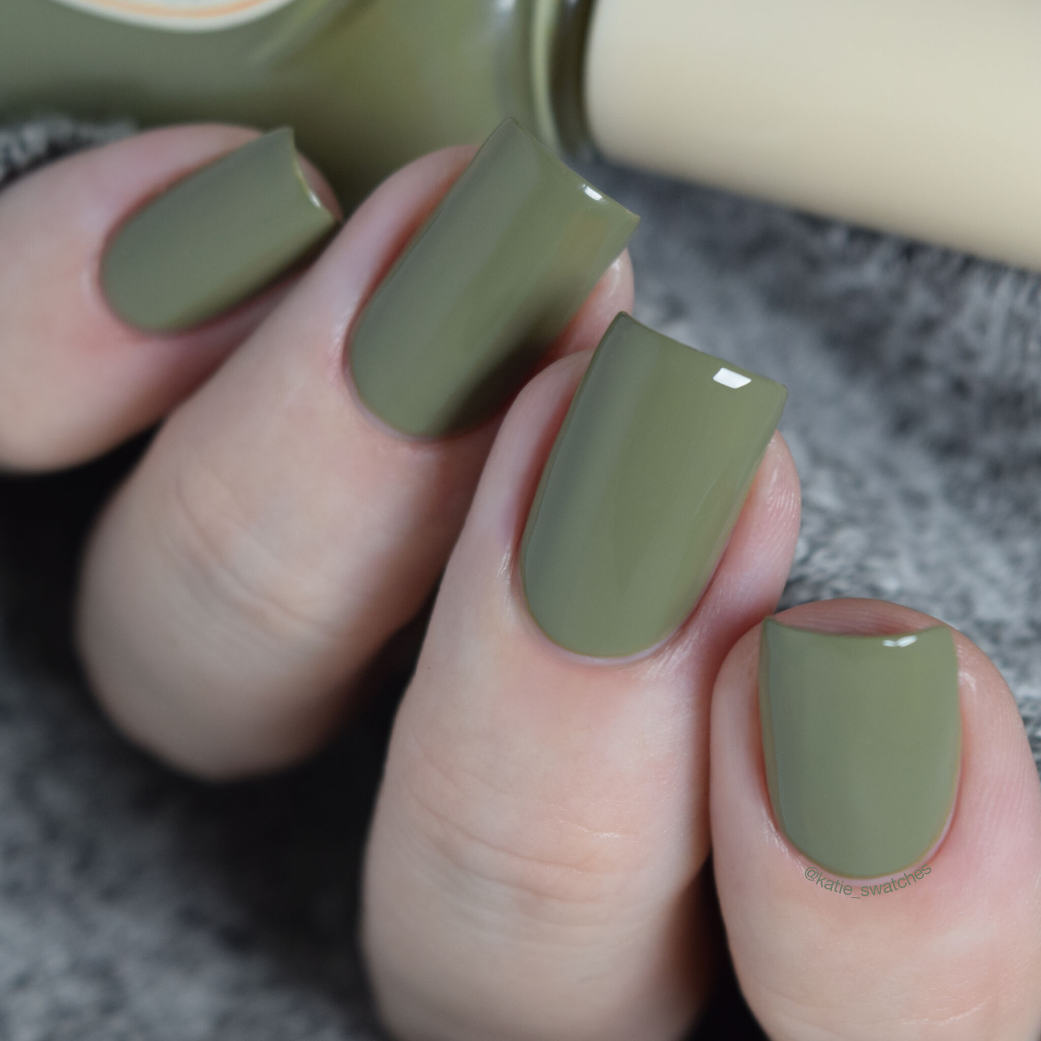 Skinfood Nail Vita Alpha AGR02 khaki green nail polish swatch