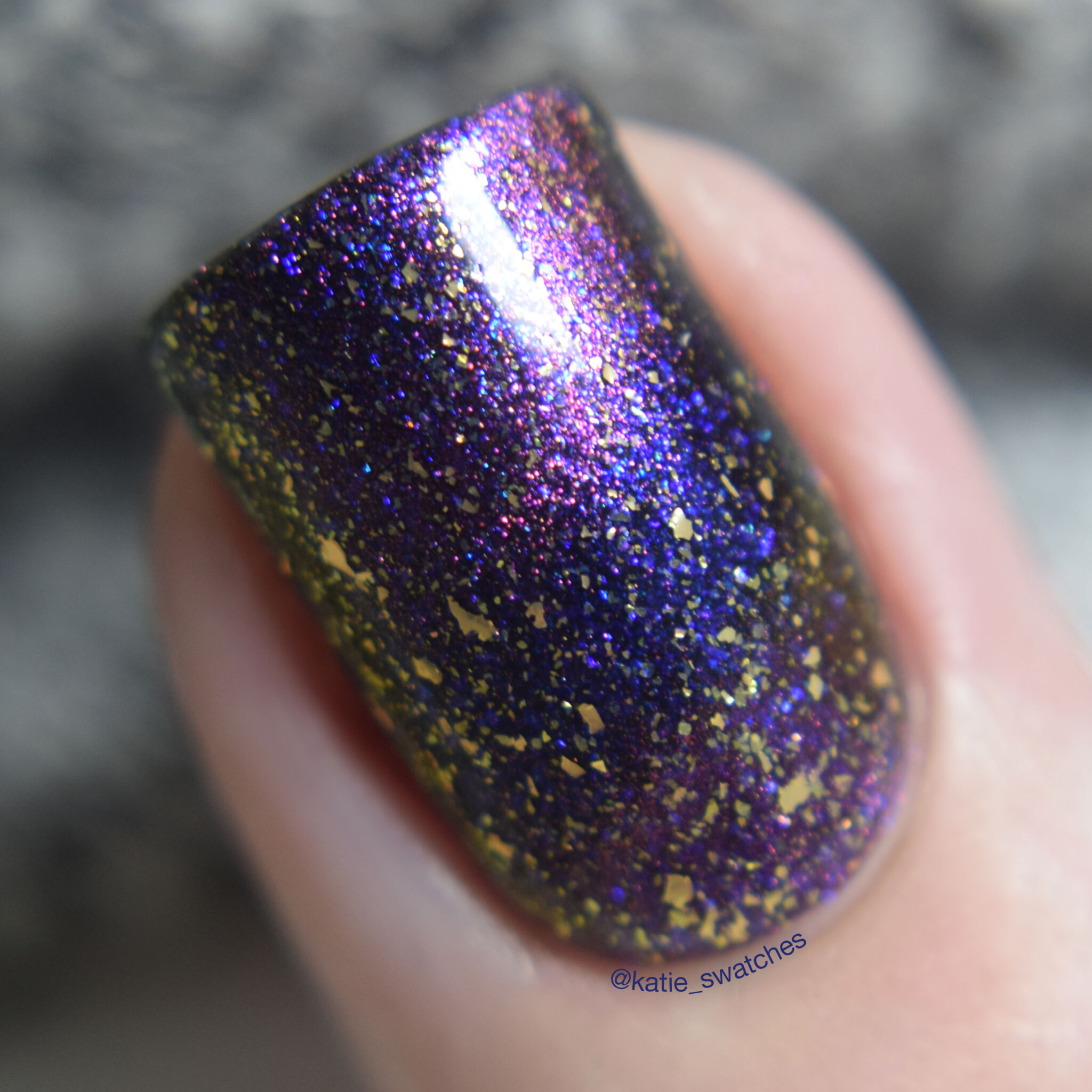 Cuticula Wonderstruck gold flake top coat layered over Polished for Days Started With A Mouse magnetic nail polish swatch - Polish Pickup February 2019 Duos & Pairs Collection