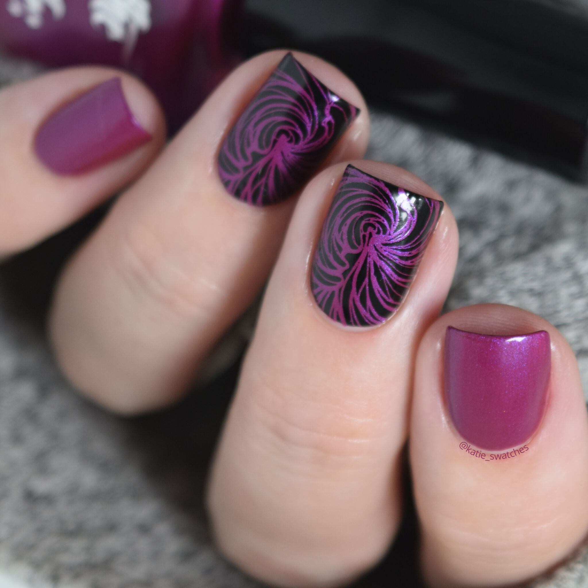 Hit the Bottle - Fuchsia Predictions nail polish swatch - Indie Expo Canada IEC VIP Bag 2019, stamped with Lina Nail Art Supplies x urbannailart collab plate