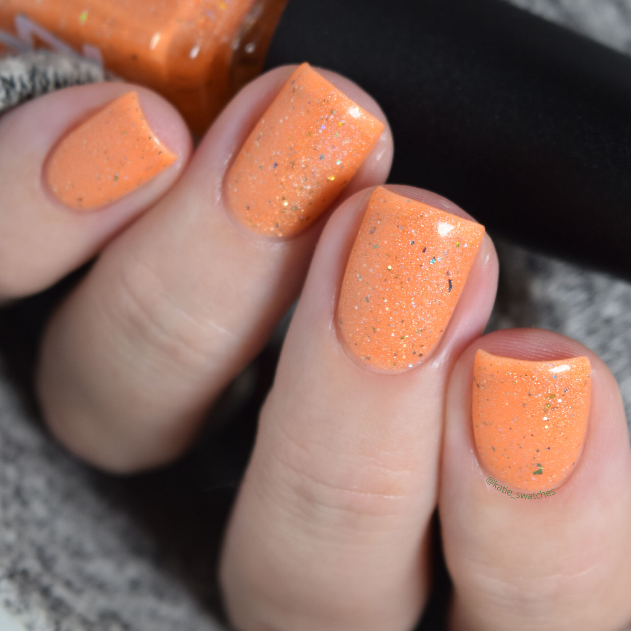 Zombie Claw Polish - Canadian Zombie orange jelly holographic nail polish swatch - Indie Expo Canada IEC VIP Bag 2019 Exclusive