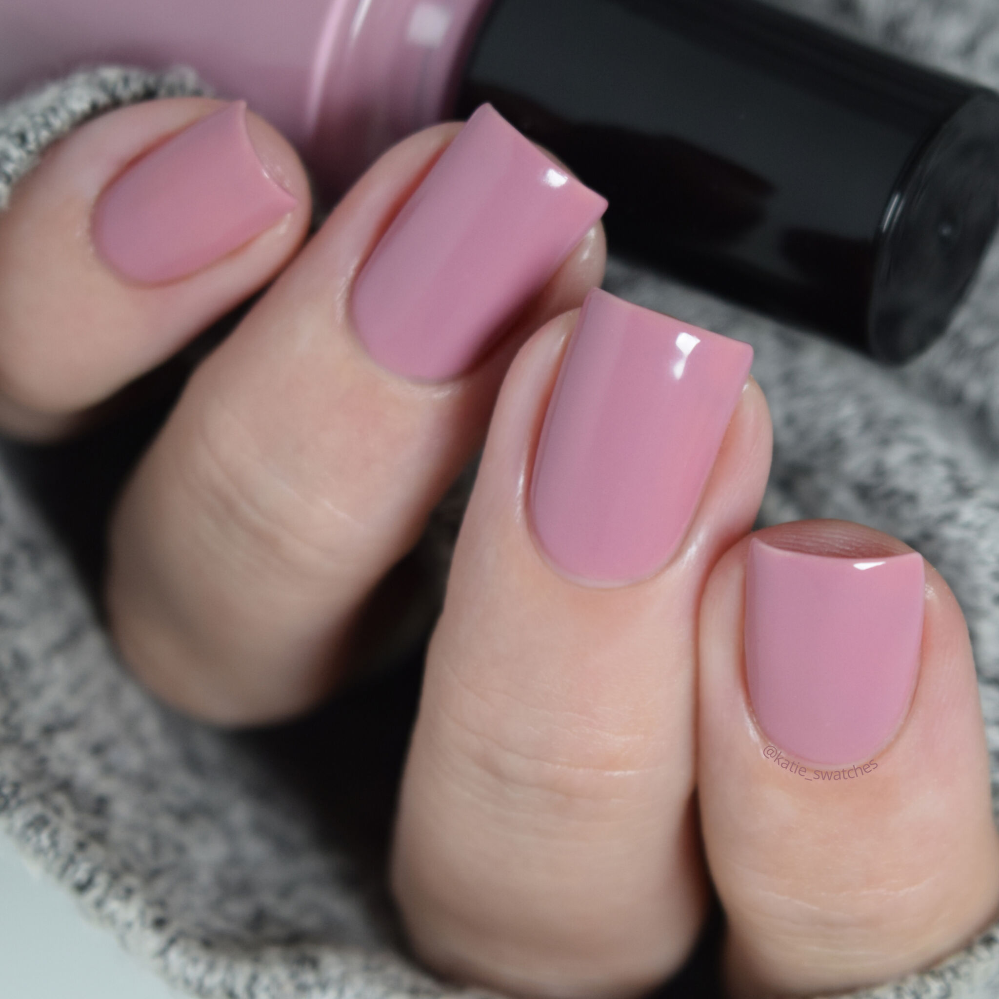 Girly Bits - For Once and Floral medium dusty rose crelly nail polish swatch