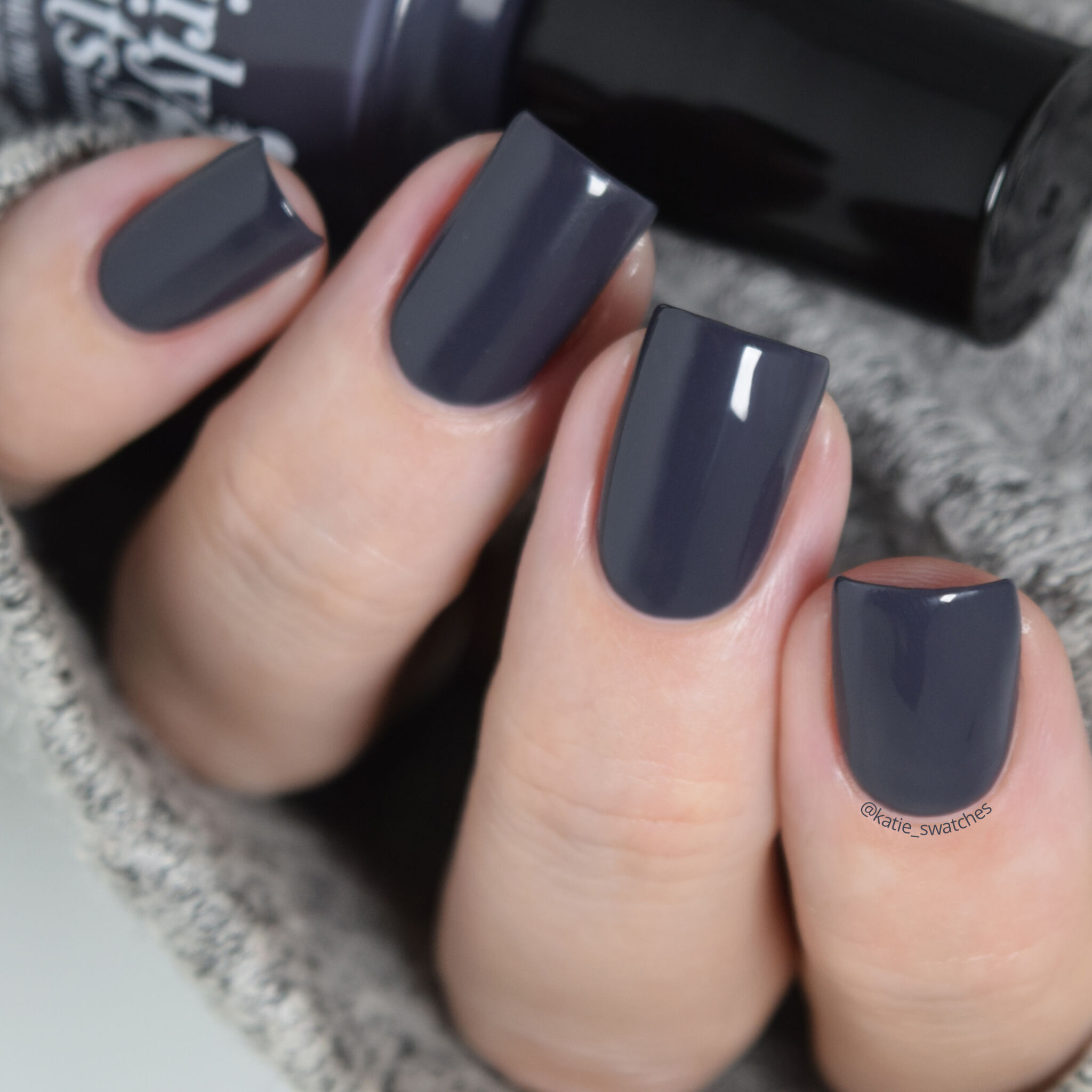 Girly Bits - I'm Pun-decided deep, not quite black, smoky blue crelly nail polish swatch