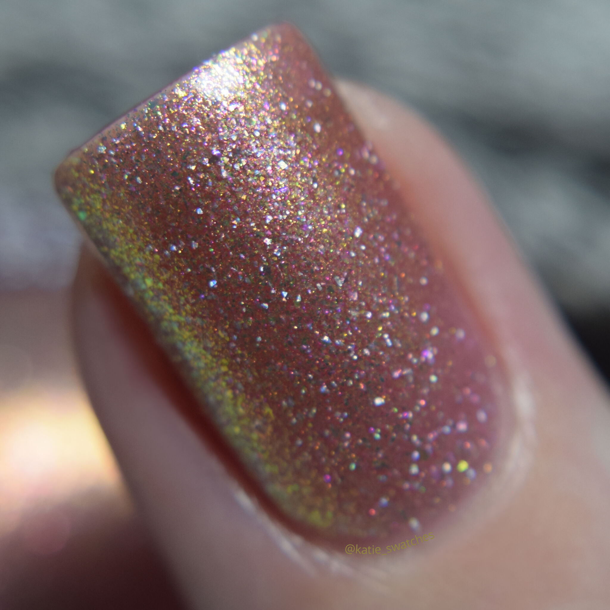 Girly Bits - Tangled shimmer nail polish swatch macro Polish Pickup PPU November 2019