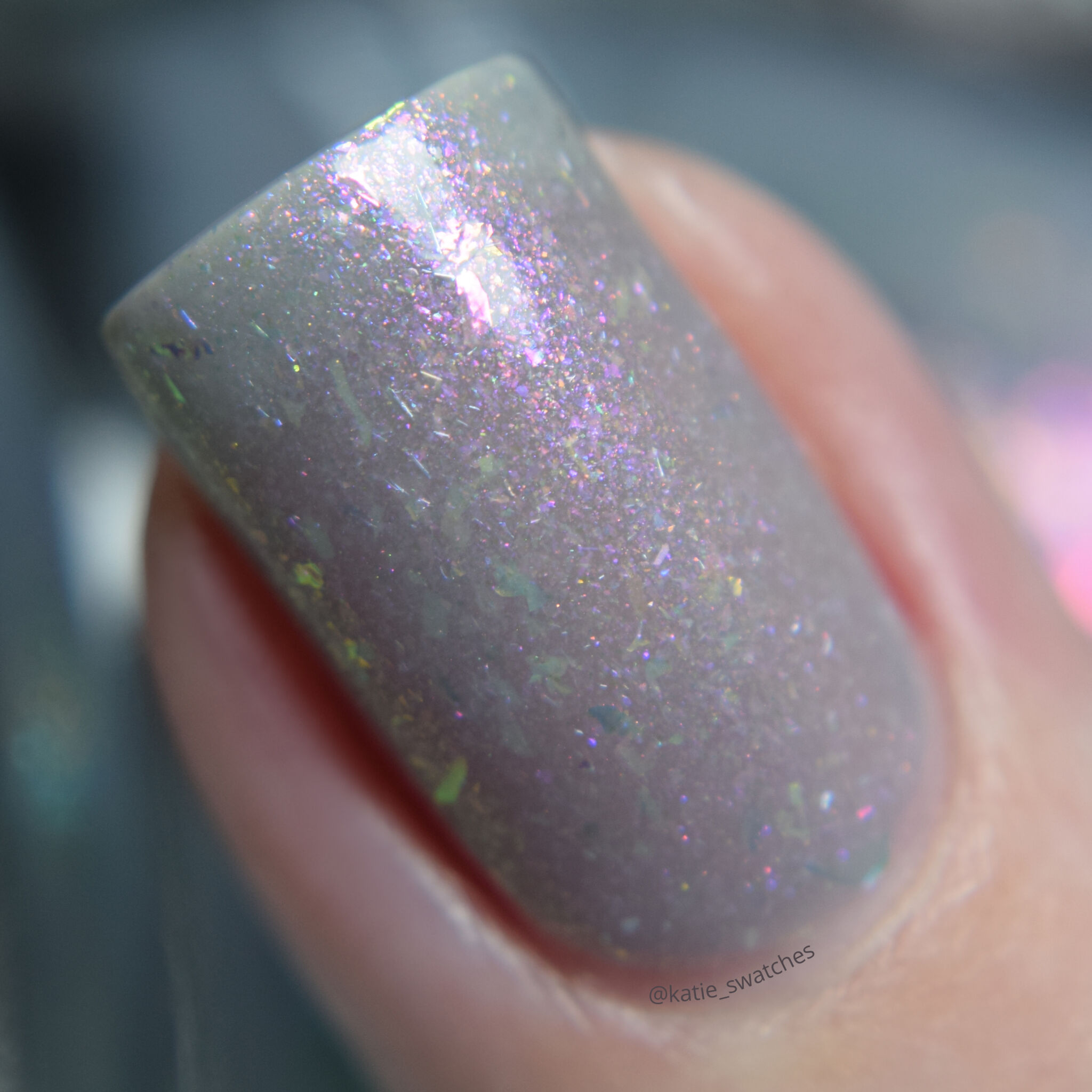 Girly Bits - Thistle While You Work sheer shimmer/flakie nail polish swatch macro