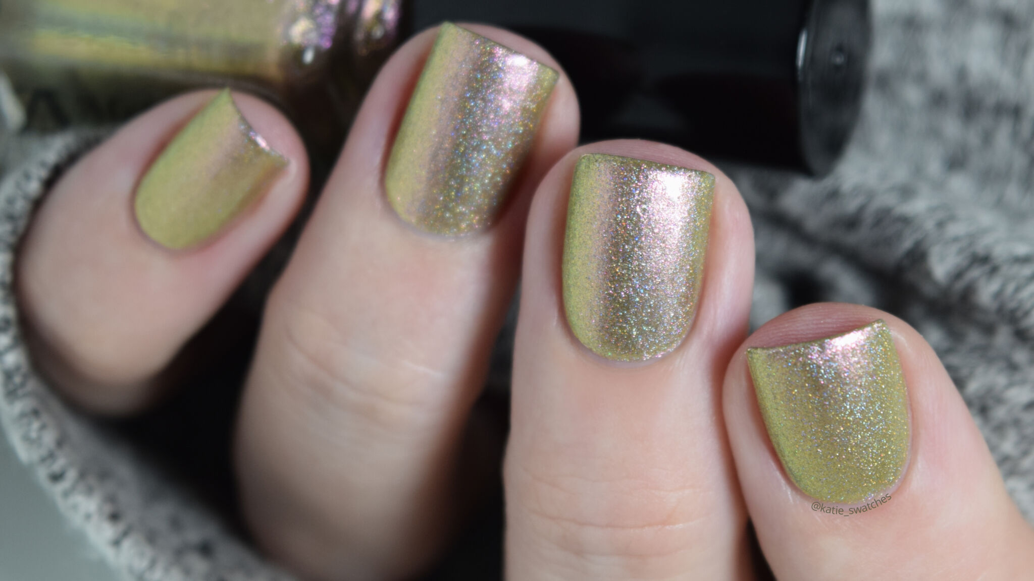 Alchemy Lacquers - Hemlock holographic duochrome nail polish - green to gold to pink - indie polish swatch