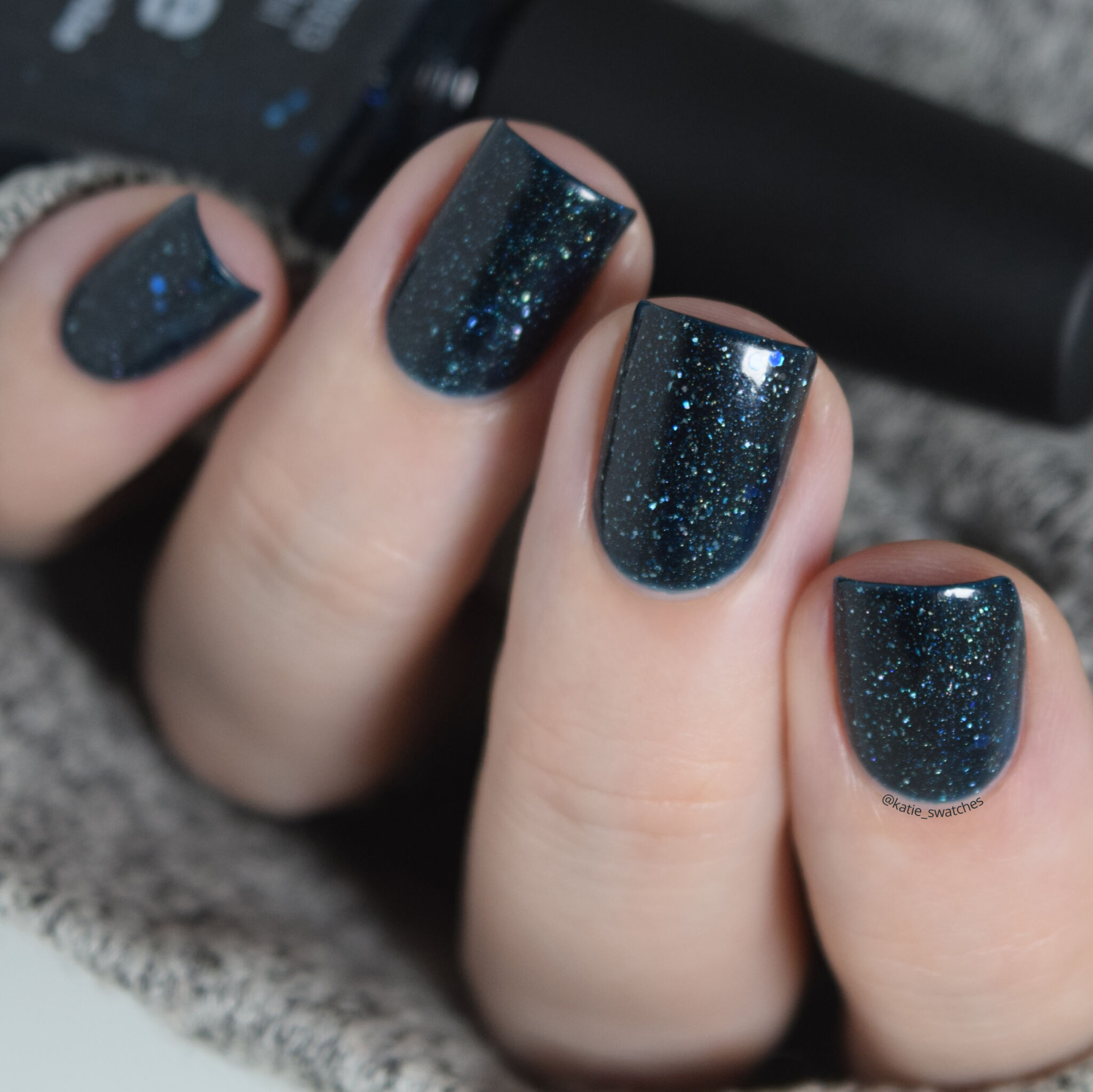 Picture Polish - Hope dark blue/green teal jelly scattered holographic nail polish swatch. Collaboration nail polish with Vernis en Folie in 2013.