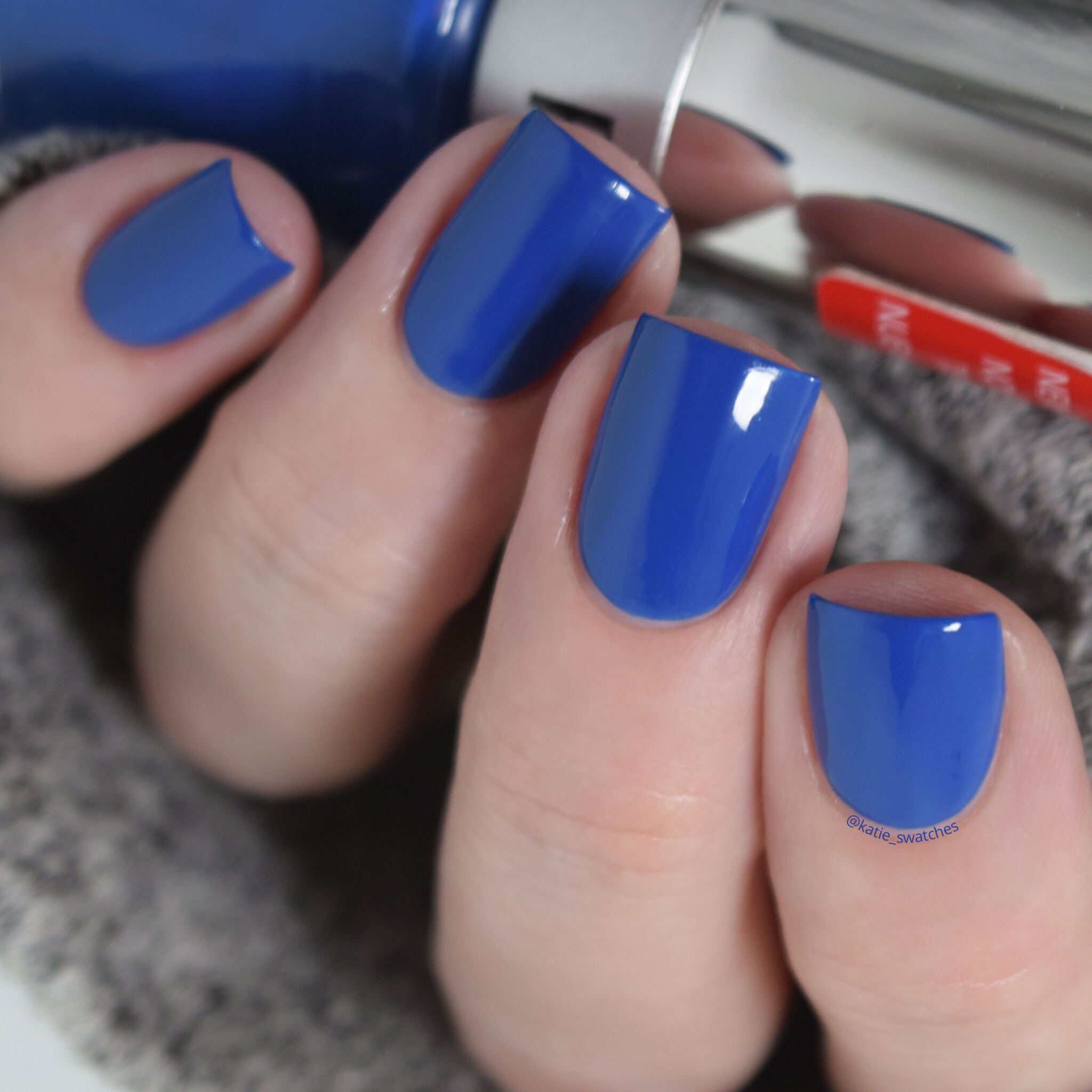 Revlon Superstitious cobalt royal blue creme nail polish swatch - drugstore nail polish swatch