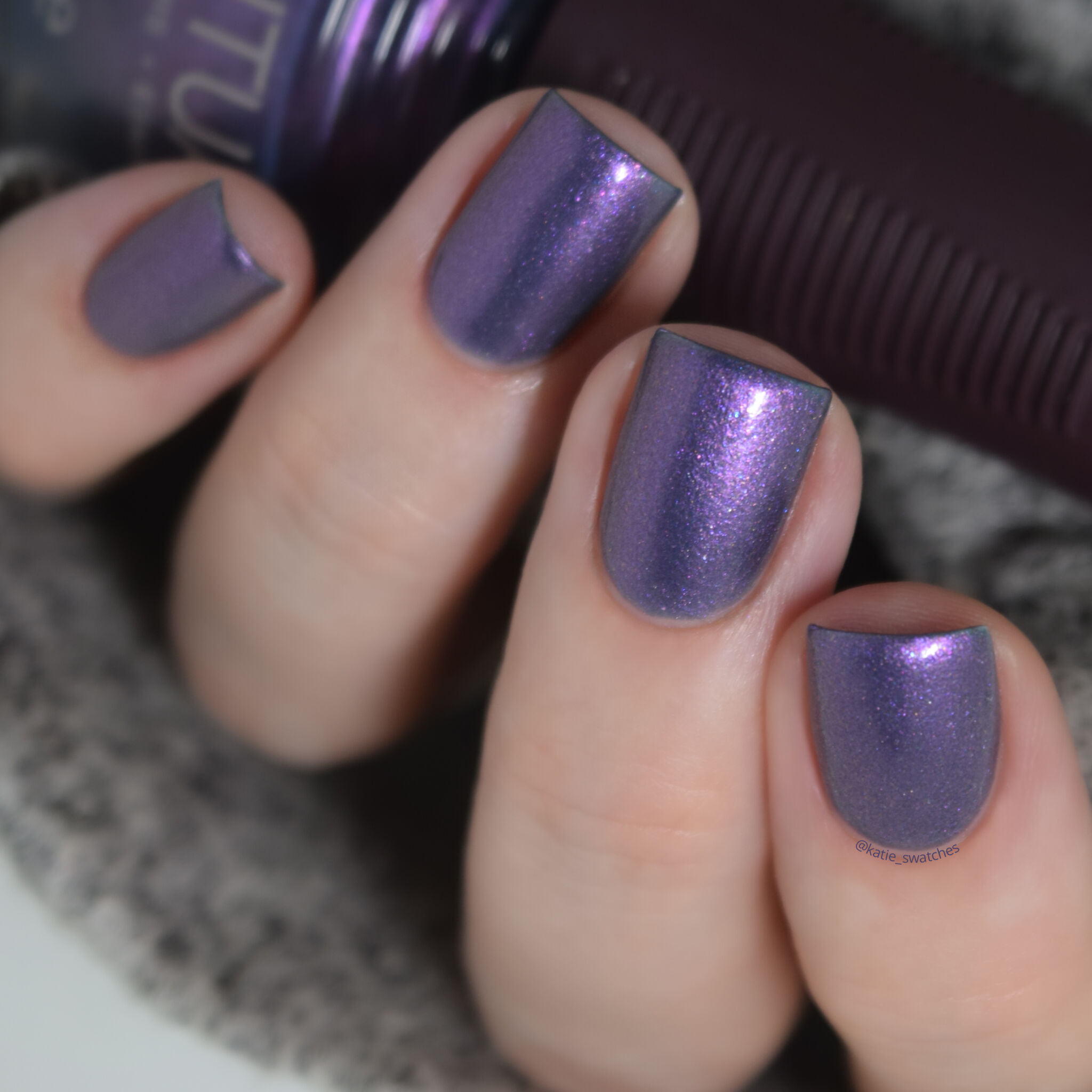 SPARITUAL North Star nail polish swatch grey-purple color with pink shimmer - Explore Collection Spring 2014