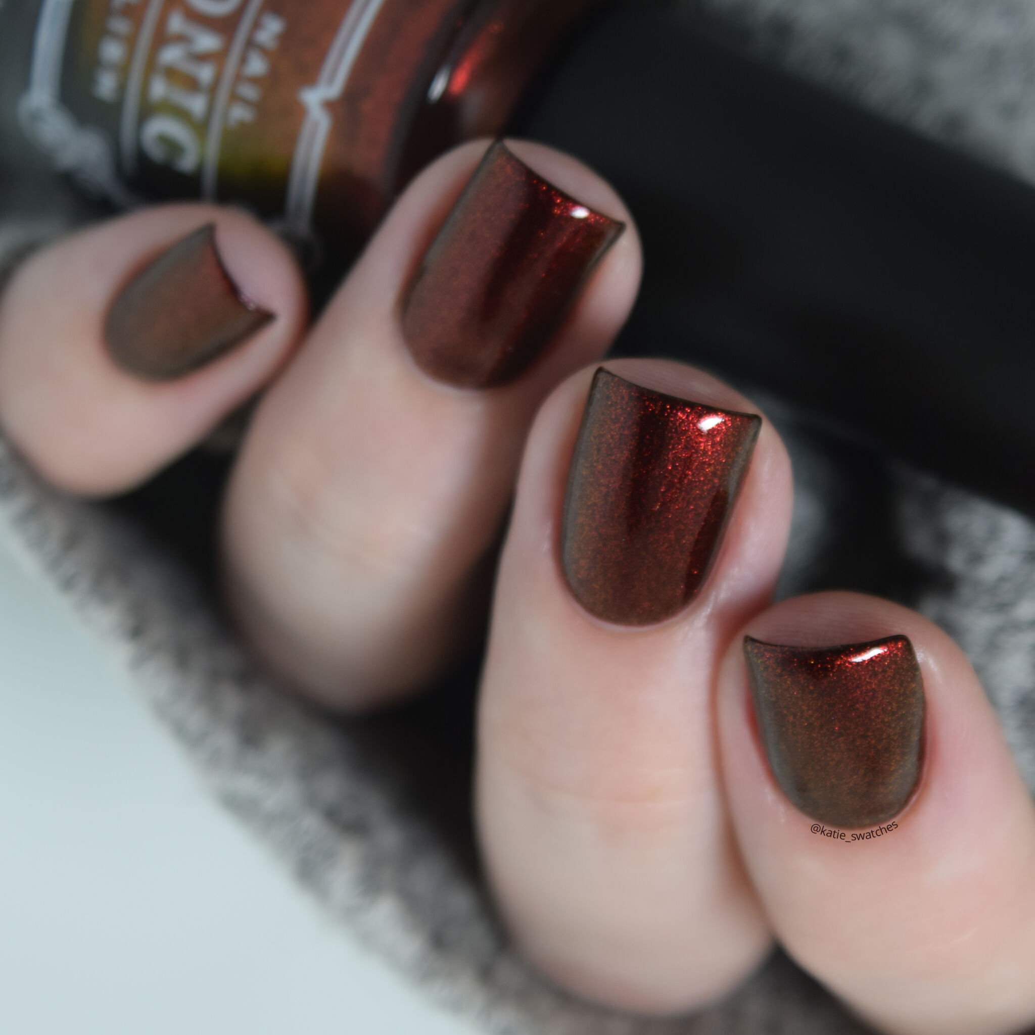 Tonic Polish - Blood On My Hands red to gold-green duochrome nail polish swatch from the Tonic Polish Fall 2019 Collection