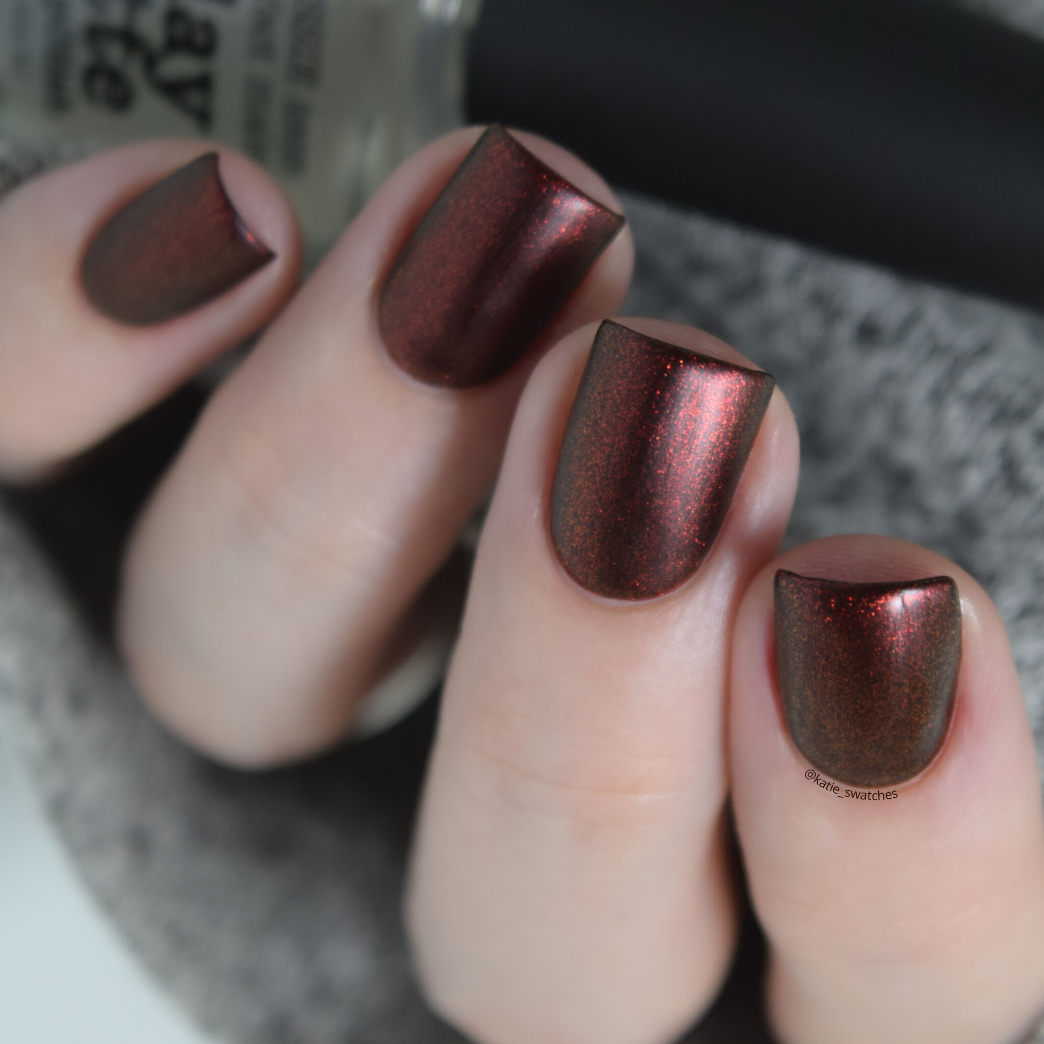 Tonic Polish - Blood On My Hands red to gold-green duochrome nail polish swatch with matte top coat from the Tonic Polish Fall 2019 Collection