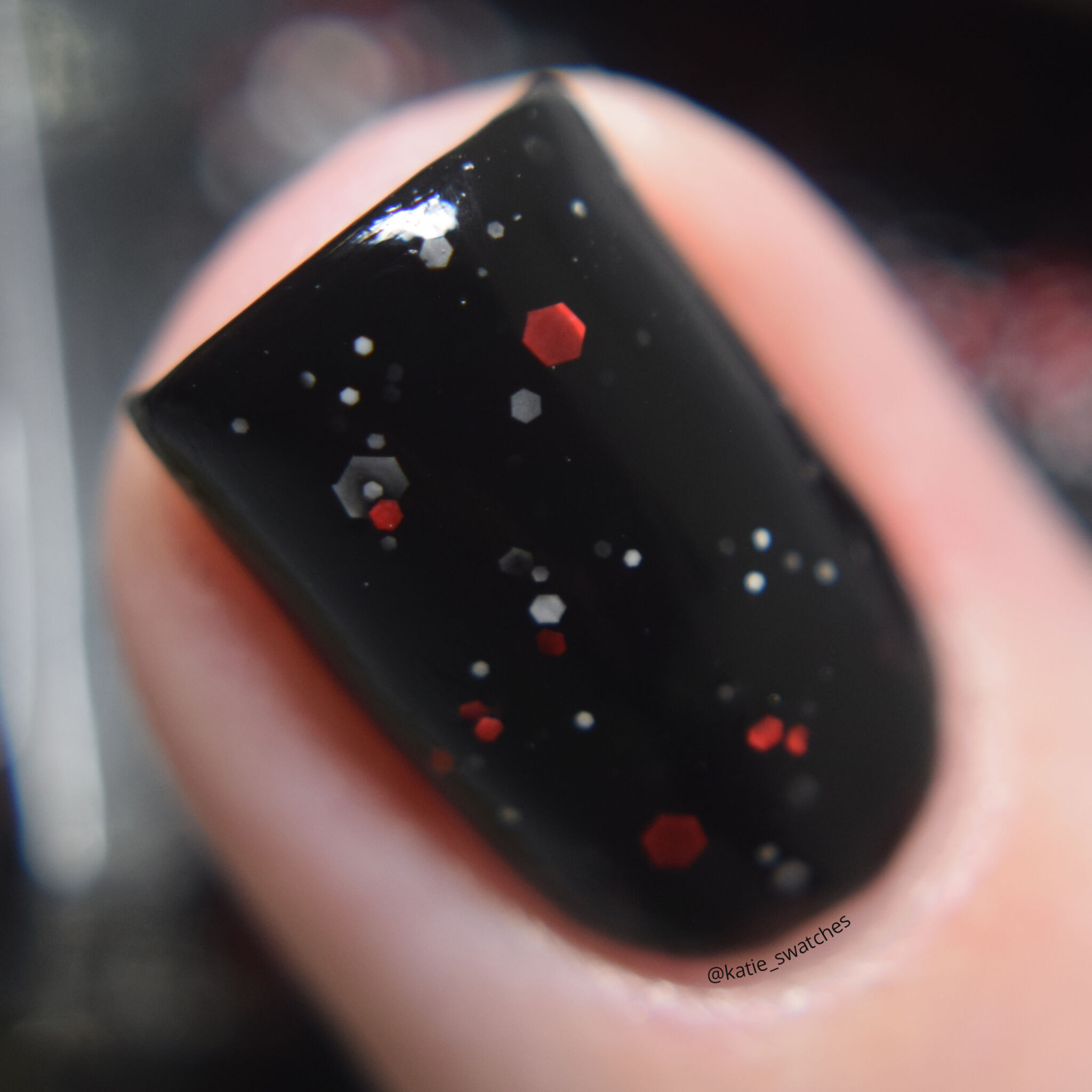 Cadillacquer Stagman black nail polish with white and red glitter Polish Pickup PPU October 2019 indie nail polish swatch