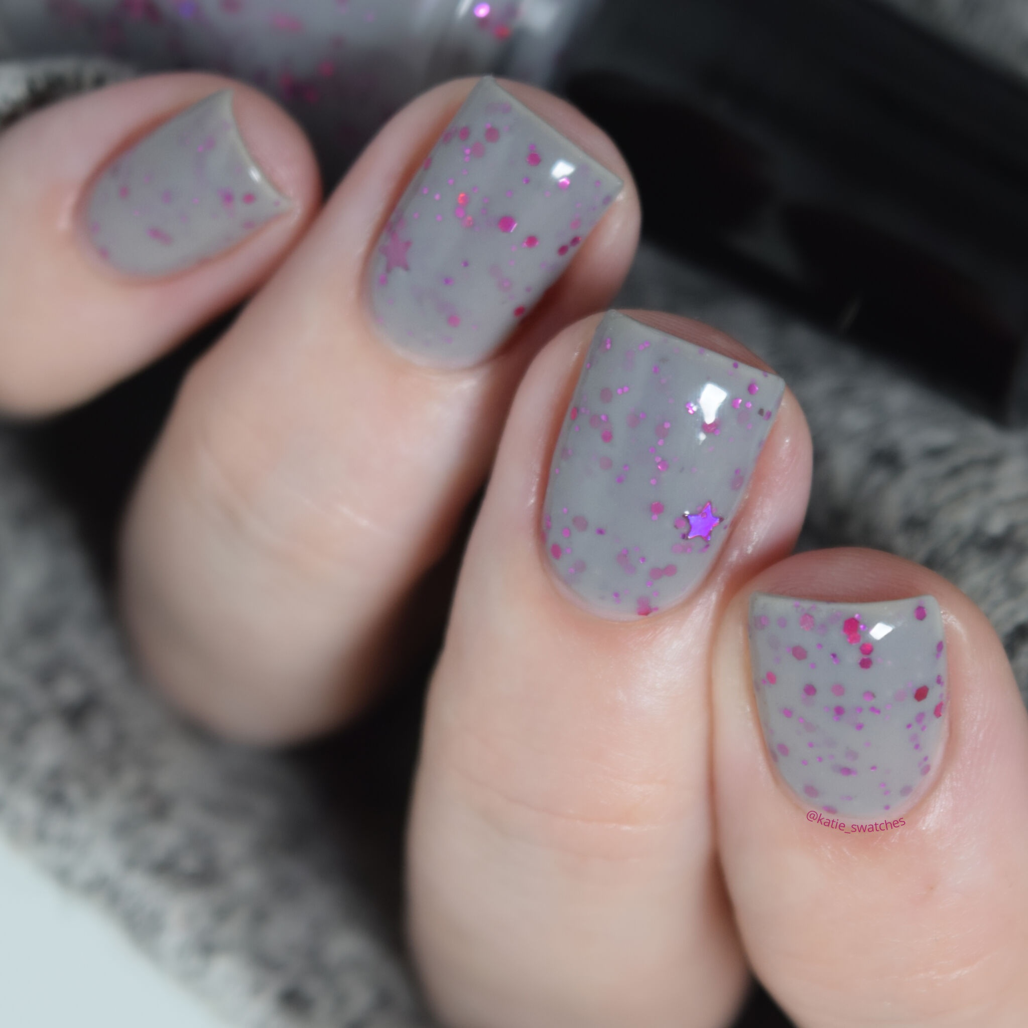 My Indie Polish - In The Beginning nail polish swatch Polish Pickup PPU March 2020. Grey crelly nail polish with metallic pink glitters