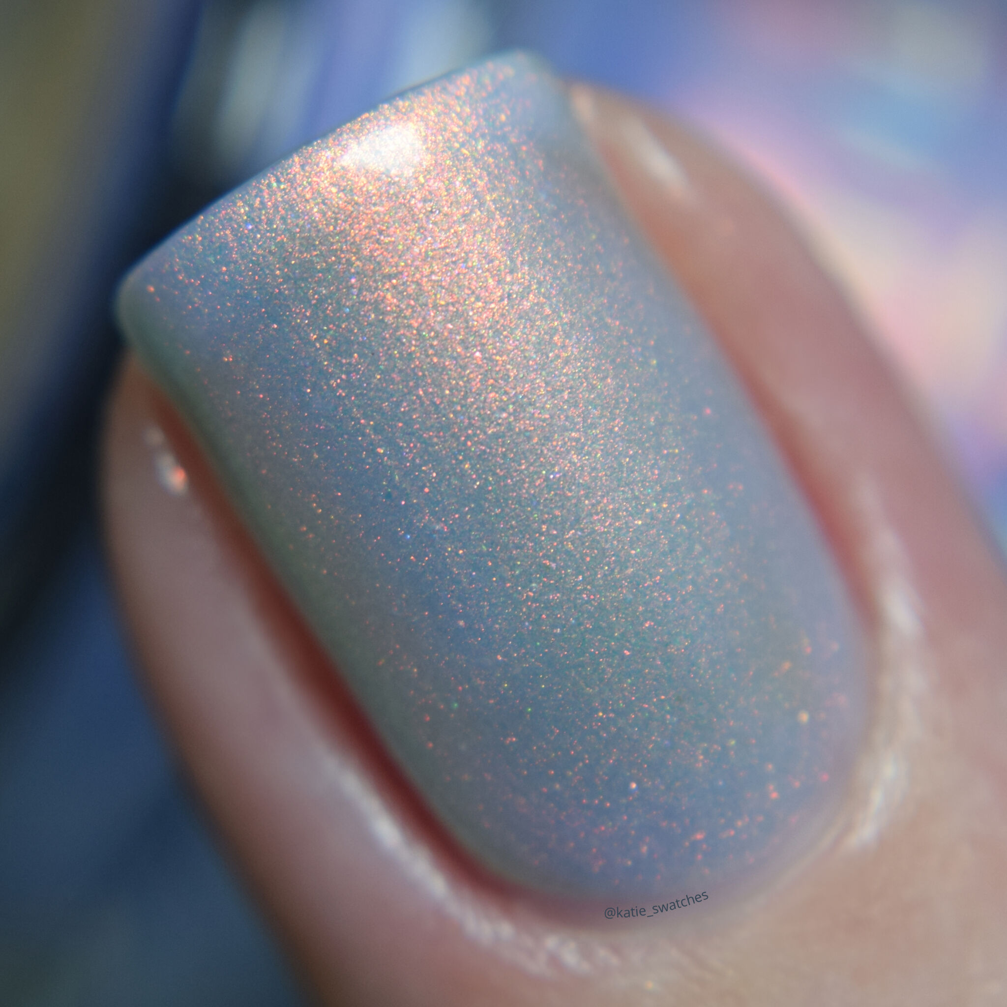 Ethereal Lacquer Under the Sea pale marine blue nail polish with pastel copper-pink shimmer - Polish Pickup PPU November 2019, PPU Rewind 2020 - indie nail polish swatch macro