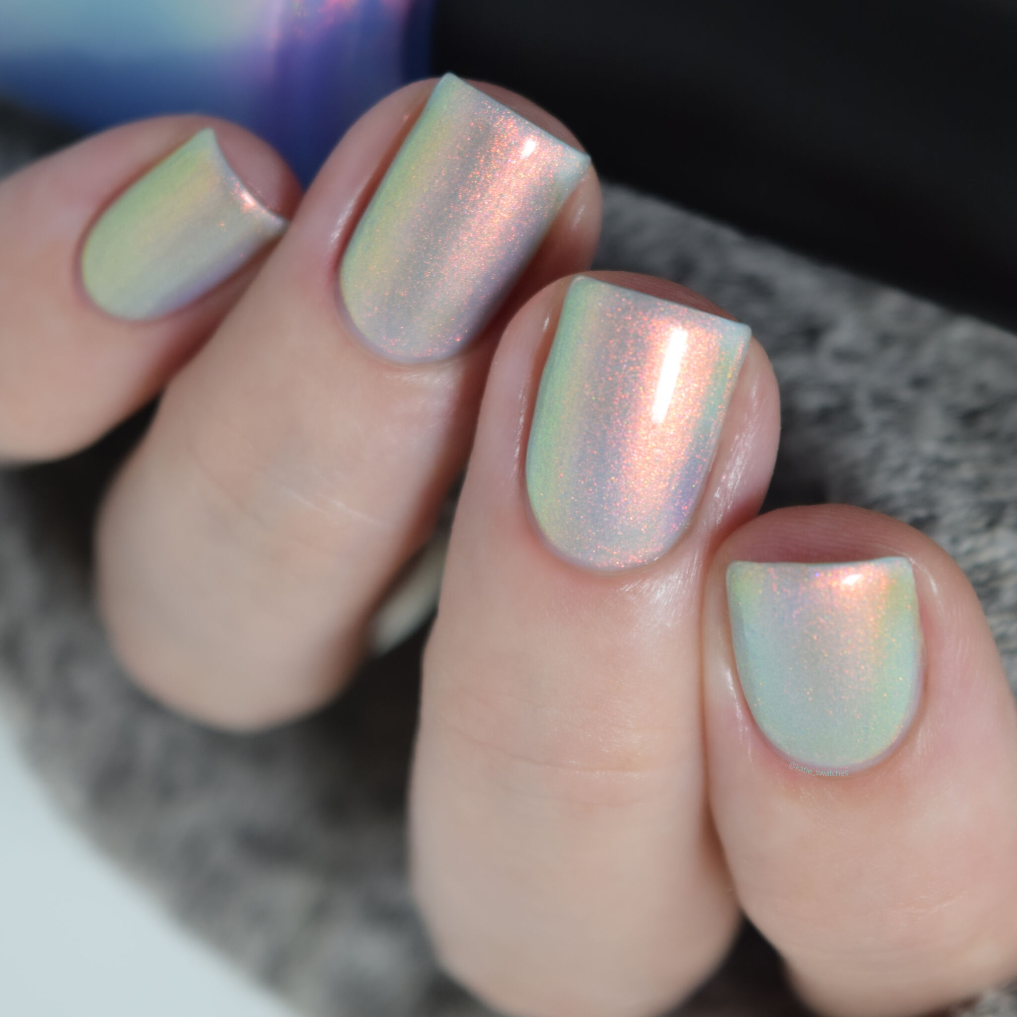 Ethereal Lacquer Under the Sea pale marine blue nail polish with pastel copper-pink shimmer - Polish Pickup PPU November 2019, PPU Rewind 2020 - indie nail polish swatch