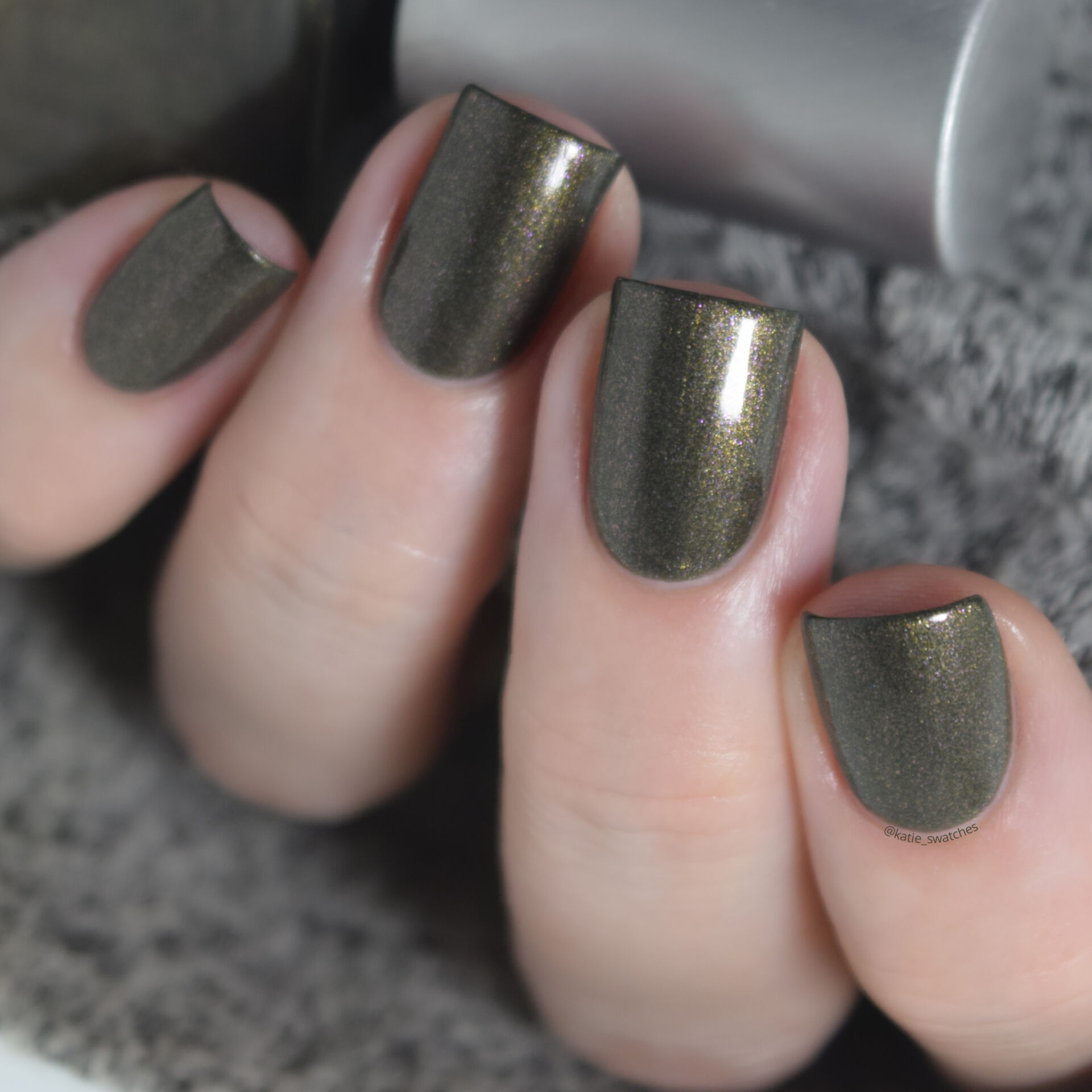 Rescue Beauty Lounge RBL Anne olive green nail polish with gold/pink shimmer. nail polish swatch
