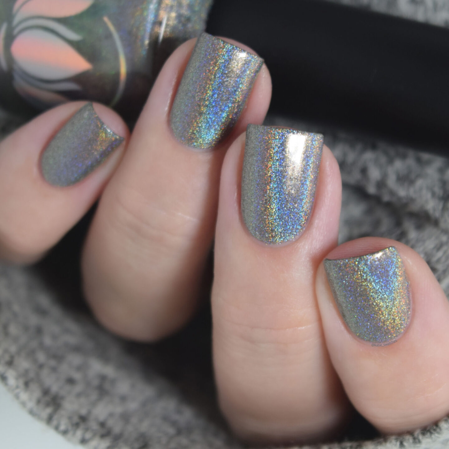 Ethereal Lacquer Mando grey beige holographic nail polish swatch The Mandalorian themed Mystery nail polish