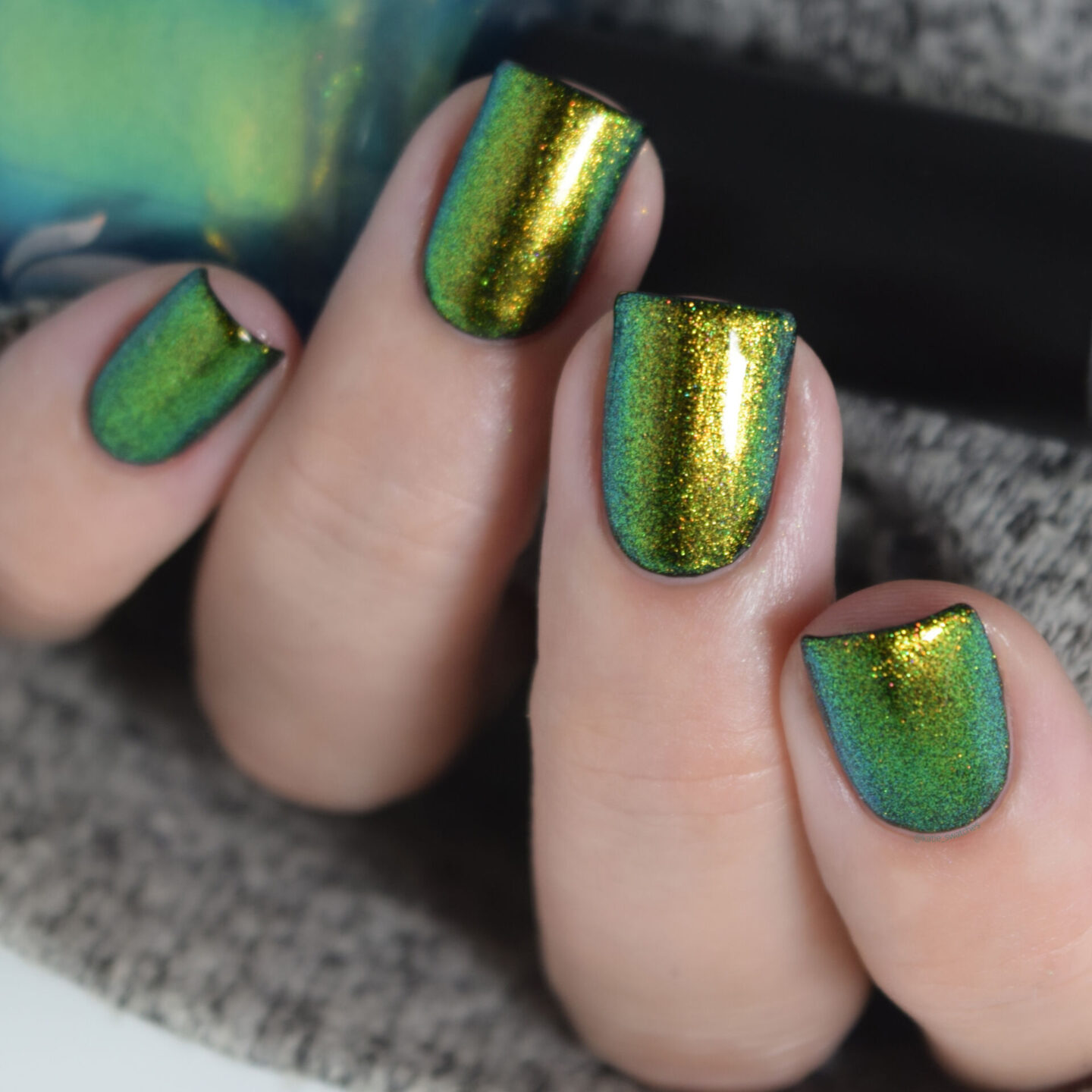 Ethereal Lacquer The Child blue green sheer shimmer nail polish swatch The Mandalorian themed Mystery nail polish