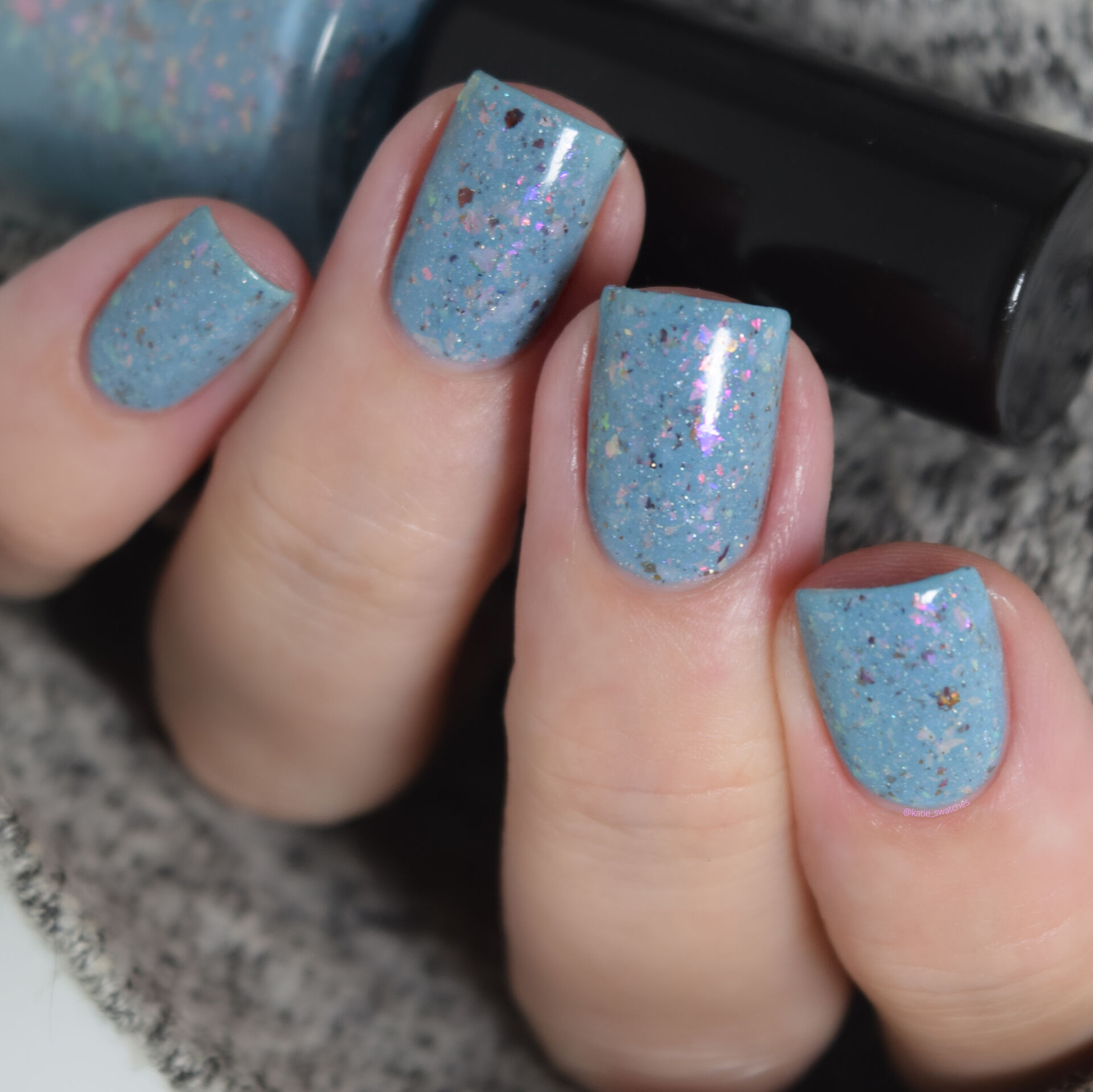 Penelope Luz - Crazy Rick nail polish swatch Polish Pickup PPU August 2020 - baby blue with colourful iridescent flakies and a tiny touch of multichrome flakes